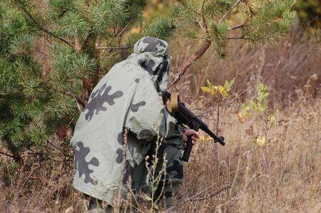 reenactmant: Soviet sniper of WW2.Historical reenactment