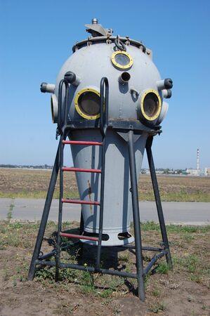 Old underwater diving equipment. Soviet. Exposition on gasoline station in Odessa region. Ukraine  photo