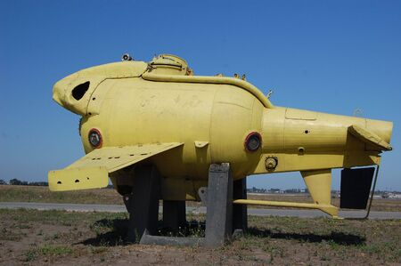 Submarine yellow .Old underwater diving equipment. Soviet. Exposition on gasoline station in Odessa region. Ukraine  photo