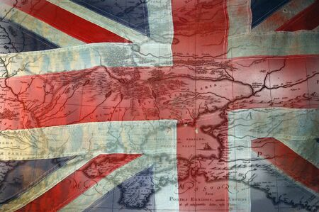 english flag: British Flag of Crimean War time with map of Crimea Stock Photo