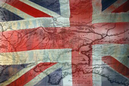 drapeau anglais: Temps de drapeau britannique de la guerre de Crim�e avec carte de Crim�e  Banque d'images