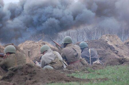 reenactment: Soviet soldiers.WW2 historical reenactment Stock Photo