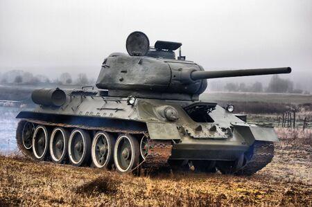 russian man: Soviet tank of WW2 Stock Photo