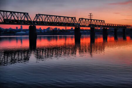 steel arch bridge: HDR.Railway bridge across Dnepr river. Kiev,Ukraine  Stock Photo