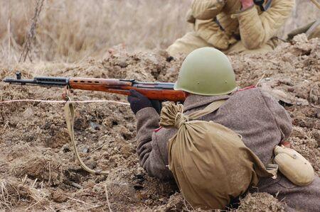 reenaction: Soviet soldier.WW2 historical reenactment Stock Photo