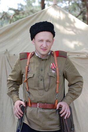 Soviet soldier.WW2 historical reenactment photo