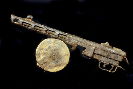 Military archeology.World War II Soviet machine-gun remains. Found with metal detector  photo