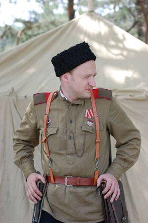 reenacting: Soviet soldier. WW2 reenacting Stock Photo