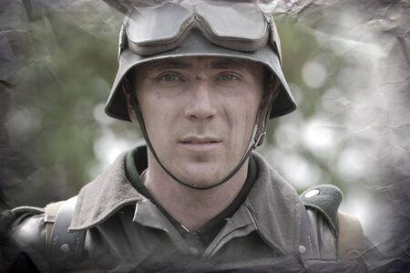 German soldier.WW2 historical reenactment photo