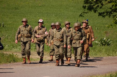 KIEV, UKRAINE - MAY 9, 2008: Members of military history club Red Star in American WW2 military uniform. Historical military reenacting in Kiev, Ukraine, May 9, 2008.
