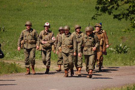 KIEV, UKRAINE - MAY 9, 2008: Members of military history club Red Star in American WW2 military uniform. Historical military reenacting in Kiev, Ukraine, May 9, 2008.