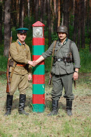 re enacting: KIEV ,UKRAINE. July 1, 2008. Military history club Red Star. Historical military reenacting. Before the war. State border of USSR. WW2 re-enacting Editorial