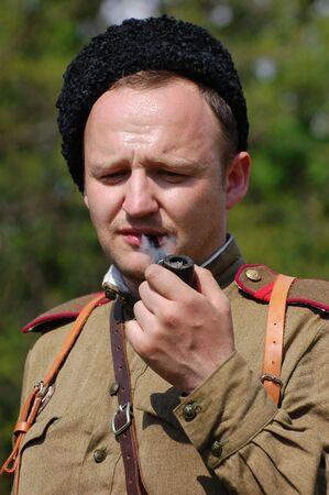 reenacting: Soviet soldier. WW2 reenacting.