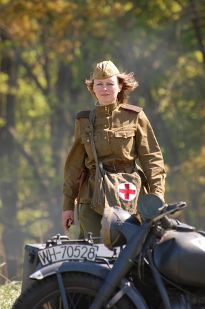 Girl wears Soviet uniform of WWII Stock Photo - 8249218