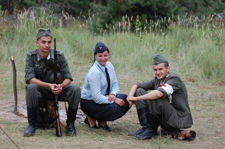 CHERNIGOW, UKRAINE - AUG 29: Members of Red Star military history club wear historical German uniform during historical reenactment of WWII, August 29, 2010 in Chernigow, Ukraine