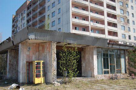 phonebox: APR. 25,2009 Chernobyl area. Lost city Pripyat. Modern ruins. Phone box,Ukraine. Kiev region.April 25,2009
