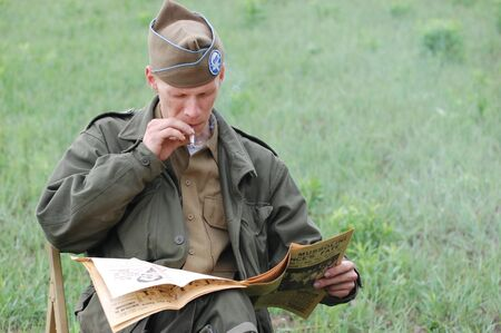 KIEV, UKRAINE - MAY 10 : Member of Red Star history club wears historical American uniforms during participation in 1945 WWII reenactment May 10, 2010 in Kiev, Ukraine  Stock Photo - 8409817