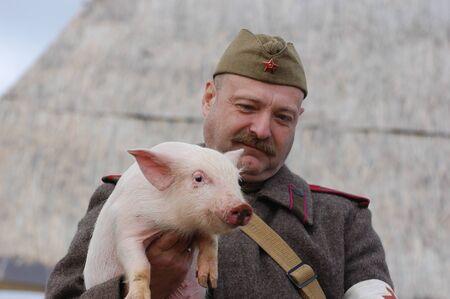 KIEV, UKRAINE - NOV 7: member of Red Star history club wears historical Soviet uniform during historical reenactment of Kiev Liberation in 1943, November 7, 2010 in Kiev, Ukraine