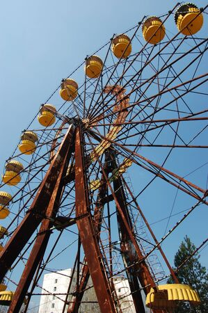 APR. 25,2009 Chernobyl area. Lost city Pripyat. Ferris wheel in Pripyat.Modern ruins. Ukraine. Kiev region.April 25,2009 Stock Photo - 8410087