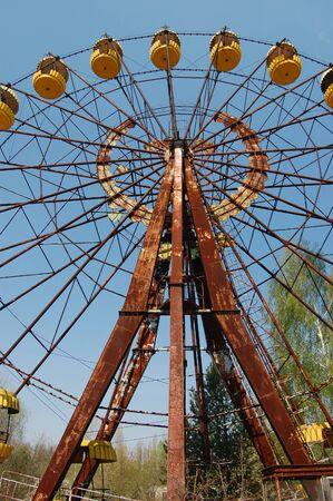 APR. 25,2009 Chernobyl area. Lost city Pripyat. Ferris wheel in Pripyat.Modern ruins. Ukraine. Kiev region.April 25,2009