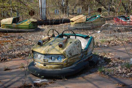 environmentalline: APR. 25,2009 Chernobyl area. Lost city Pripyat. Modern ruins. Ukraine. Kiev region.April 25,2009