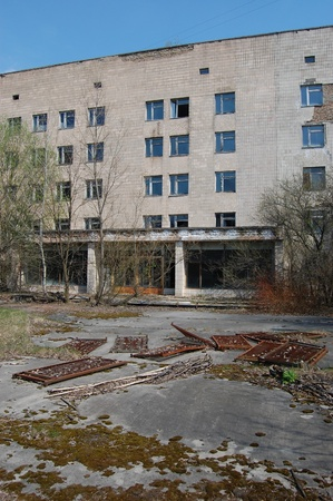 APR. 25,2009 Chernobyl area. Lost city Pripyat. Modern ruins. Hospital.Ukraine. Kiev region.April 25,2009