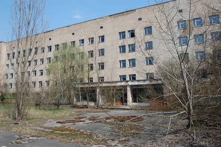 APR. 25,2009 Chernobyl area. Lost city Pripyat. Modern ruins. Hospital.Ukraine. Kiev region.April 25,2009  Editorial
