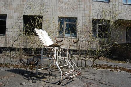 environmentalline: APR. 25,2009 Chernobyl area. Lost city Pripyat. Modern ruins. Hospital.Ukraine. Kiev region.April 25,2009  Editorial