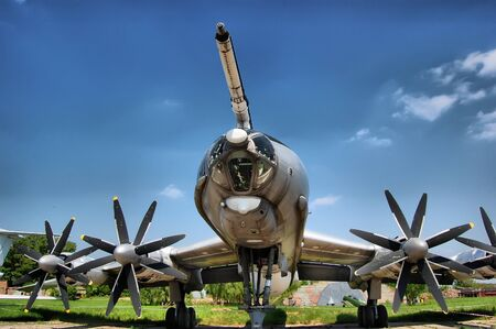 KIEV, UKRAINE - MAY 19: Bear. TU-95.The Museum of Aviation exhibit at the National Airspace University is shown on May 19, 2009 in Kiev,Ukraine (Malorussia).  Stock Photo - 8410153