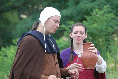 weaponry: KIEV, UKRAINE - JULY 31: Members of history club wears historical medieval costume as they participates in historical festival and camp July 31, 2009 in Kiev, Ukraine