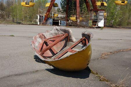 APR. 25,2009 Chernobyl area. Lost city Pripyat.City park.. Modern ruins. Ukraine. Kiev region.April 25,2009