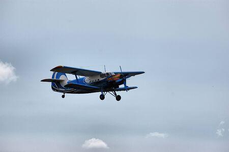 chernigow: CHERNIGOW, UKRAINE - AUG 29: Retro Soviet biplane AN-2 during historical reenactment of WWII in air club