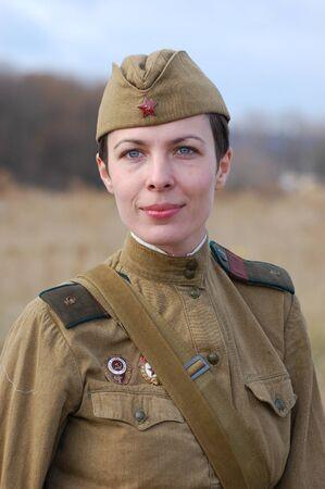 KIEV, UKRAINE - NOV 7: member of Red Star history club wears historical Soviet uniform during historical reenactment of Kiev Liberation in 1943, November 7, 2010 in Kiev, Ukraine  Stock Photo - 8491706
