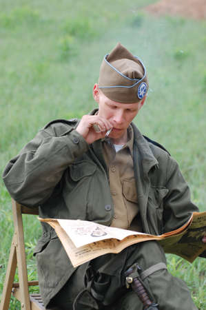 KIEV, UKRAINE - MAY 10 : members of Red Star history club wear historical American uniforms during participation in 1945 WWII reenactment May 10, 2010 in Kiev, Ukraine  Stock Photo - 8500507