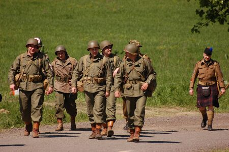 KIEV, UKRAINE - MAY 10 : members of Red Star history club wear historical American uniforms during participation in 1945 WWII reenactment May 10, 2010 in Kiev, Ukraine  Stock Photo - 8500531