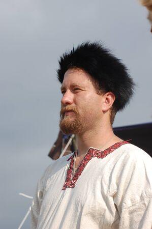 bowman: KIEV, UKRAINE - JULY 31: Member of history club Golden Capricorn wears medieval costume as he participates in historical festival and camp in memory of King Vladimir July 31, 2009 in Kiev, Ukraine.
