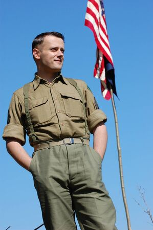 KIEV, UKRAINE - MAY 9: A member of a military history club wears a historical American  uniform as he participates in a WWII reenactment May 9, 2009 in Kiev, Ukraine.