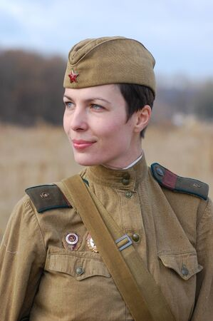 KIEV, UKRAINE - NOV 7:Member of Red Star history club wears historical Soviet uniform during historical reenactment of Kiev Liberation in 1943, November 7, 2010 in Kiev, Ukraine