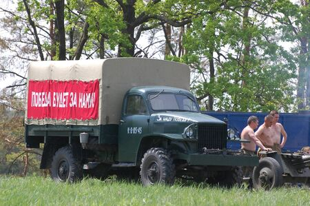 KIEV, UKRAINE - MAY 10 : Soviet military truck of WW2 time during historical reenactment of 1945 WWII, May 10, 2010 in Kiev, Ukraine.
