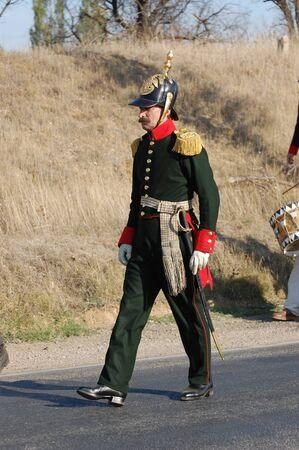 CRIMEA, UKRAINE - SEPTEMBER 26: Member of military history club ALMA wears Russian historical uniform during historical reenactment of Crimean War September 26, 2009 , Crimea, Ukraine  Stock Photo - 8717849