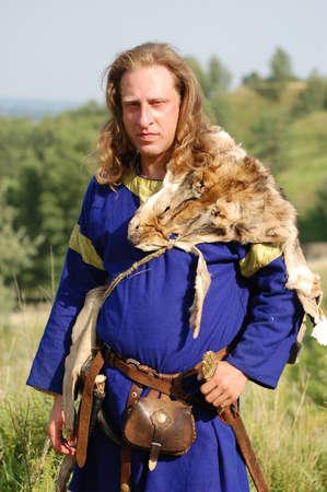 bowman: KIEV, UKRAINE - JULY 31: Member of history club Golden Capricorn wears medieval costume as he participates in historical festival and camp in memory King Vladimir July 31, 2009 in Kiev, Ukraine.