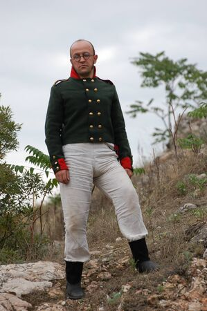 CRIMEA, UKRAINE - SEPTEMBER 26: Member of military history club ALMA wears Russian historical uniform during historical reenactment of Crimean War September 26, 2009 , Crimea, Ukraine  Stock Photo - 8739277