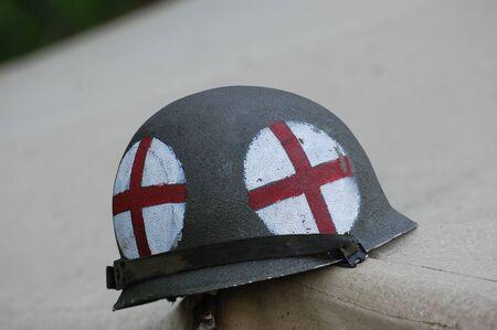 KIEV, UKRAINE - MAY 10 : American military paramedic helmet during historical reenactment of 1945 WWII, May 10, 2010 in Kiev, Ukraine.