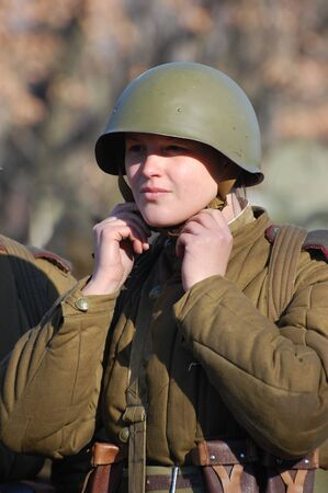 KIEV,UKRAINE. 8 November 2008 Person in Soviet WW2 military uniform. Member of military history club Red Star. Historical military reenacting Kiev ,Ukraine. 7-9 November 2008