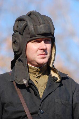 KIEV,UKRAINE. 9 November 2008 Person in Soviet WW2 military uniform. Member of military history club Red Star. Historical military reenacting Kiev ,Ukraine. 7-9 November 2008  Stock Photo - 9004089