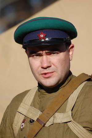 KIEV,UKRAINE. 7 November 2008 Person in Soviet WW2 military uniform. Member of military history club Red Star. Historical military reenacting Kiev ,Ukraine. 7-9 November 2008  Stock Photo - 9004083