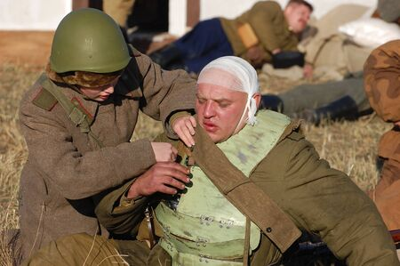 KIEV,UKRAINE. 7 November 2008 Person in Soviet WW2 military uniform. Member of military history club Red Star. Historical military reenacting Kiev ,Ukraine. 7-9 November 2008