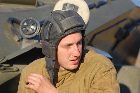 KIEV,UKRAINE. 7 November 2008 Person in Soviet WW2 military uniform. Member of military history club Red Star. Historical military reenacting Kiev ,Ukraine. 7-9 November 2008  Stock Photo - 9004068