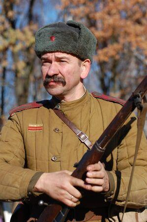 KIEV,UKRAINE. 7 November 2008 Person in Soviet WW2 military uniform. Member of military history club Red Star. Historical military reenacting Kiev ,Ukraine. 7-9 November 2008  Stock Photo - 9004076