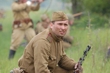 KIEV, UKRAINE, 10 MAY 2008: Member of military history club Red Star. Person in Soviet WW2 military uniform. Historical military reenacting Kiev, Ukraine, 8-10 May, 2008.  Stock Photo - 9004062